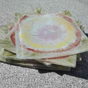 szklane talerzyki 6 sztuk boho, fusing, szklane, malowane, talerzyki, prezent