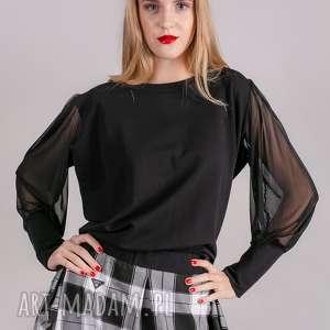 bluzka klasyczna czarna rękaw tiul, bluzki, kurtki, spodnie, bluzy, sukienki