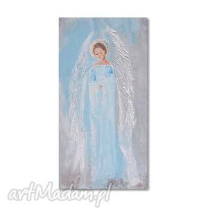 Anioł błękitny, , anioł, obraz, ręcznie, malowany, chrzest, ślub