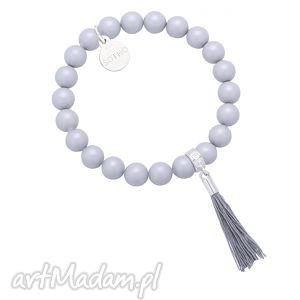 bransoletki szara bransoletka perły swarovski crystal z chwostem, bransoletka,