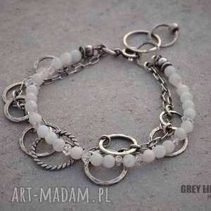 ręczne wykonanie bransoletki kamień księżycowy z diamentem z herkimer