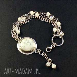 agat, mech i księżyc, agat-mszysty, bransoletka, srebro, srebro-oksydowane
