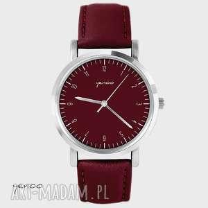 zegarek, bransoletka - simple elegance bordo, wino, skórzany