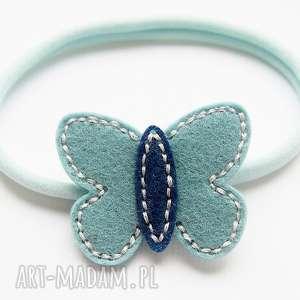 Opaska do włosów motylek tiffany blue, opaska, filcowy, motylek, niemowlęca