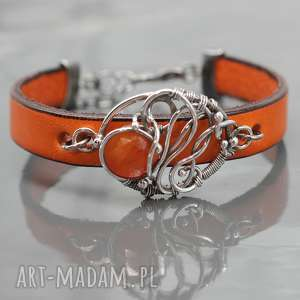 bransoletka ze srebrem i karneolem orange - rzemień, wire, wrapping, karneol