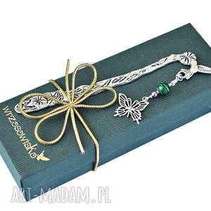 zakładka do książki malachitowy motyl, zakładki, prezent, pudełko, malachit