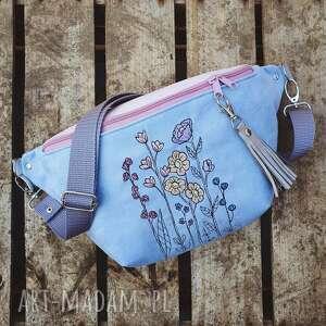 nerka xxl kwiaty, pastelowa, kwiatowa, haftowana, torebka