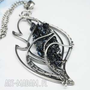kwarc tytanowy, srebrny naszyjnik fuego, łańcuszek
