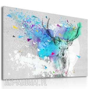 nowoczesny obraz do salonu drukowany na płótnie z abstrakcyjnym jeleniem, duży