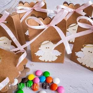 handmade zaproszenie pudełka, podziękowania dla gości - aniołek