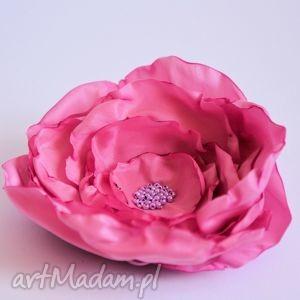 broszka - róża w kolorze starego różu, różowy fuksja, dekoracja