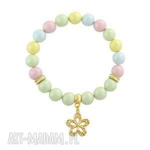 pearly chic - pastels 2, perła, kwiatek bransoletki