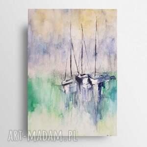 łodzie-akwarela formatu a4, akwarela, łodzie, morze
