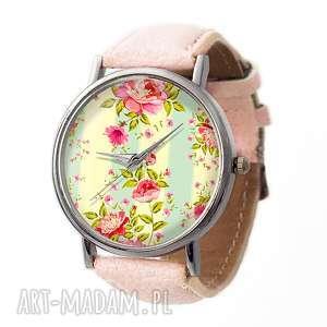 retro róże - skórzany zegarek z dużą tarczą - zegarek