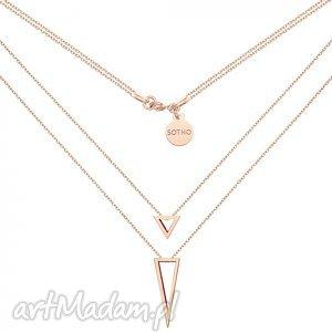 ręczne wykonanie naszyjniki podwójny naszyjnik z przestrzennymi trójkątami z różowego złota