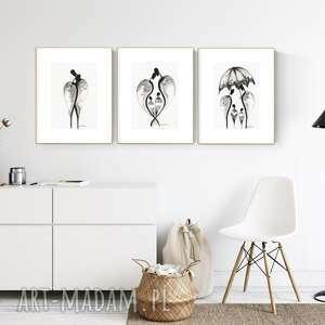 zestaw 3 grafik 21 x 30 wykonanych ręcznie, abstrakcja, obraz do salonu