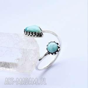 podwójny regulowany pierścionek, turkus, srebro, pierścionek
