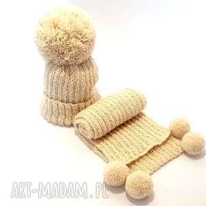 handmade dziecięcy komplet wełniany czapka szalik alpaka, ciepły