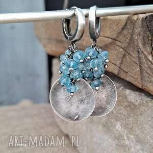 topaz blue - kolczyki, srebro oksydowane, niebieski, z topazem
