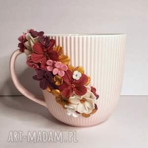 kubek pink flowers, ceramiczny, kwiaty różowe, prezent dla mamy, dzień