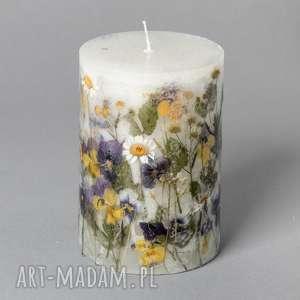Mała świeca z suszonymi kwiatami W MOIM OGRÓDECKU, pole, łąka, kwiaty, ludowa, folk