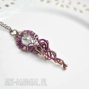 Purple elegance - naszyjnik wire wrapping naszyjniki pracownia