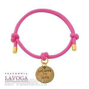 ręcznie robione bransoletki pink twine with believe in love