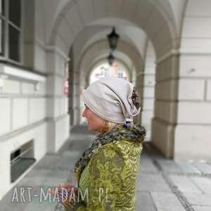czapka beżowa jasna kwiaty dresowa damska handmade sportowa, czapka, etno, boho
