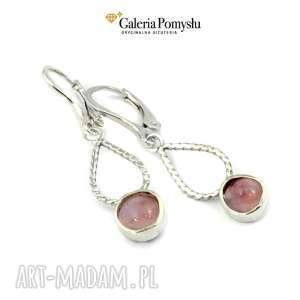 Agat różowy, agat, wiszące, kolczyki, srebro, 925