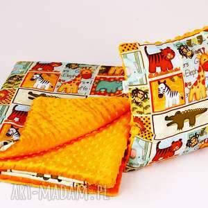 zestaw przedszkolaka-kocyk i poduszka safari pomarańcz, kocyk, poduszka