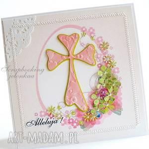 wielkanoc - kartka, jajko krzyż, kwiaty, alleluja