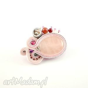 różowo-srebrna broszka sutasz, broszka, przypinka, kwarc, srbrny, różówy