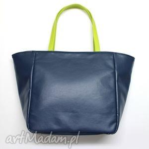 Prezent Shopper Bag Worek - granat i rączki limonka, elegancka, nowoczesna