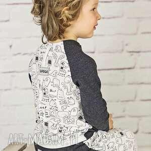 bluzeczka z przeszyciami duszki-grafit, bawełna, bluzka, duchy, grafit