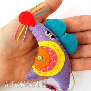 kolorowa mysza broszka z filcu, mysz gryzoń, filc biżuteria dziecko
