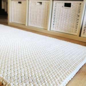 dwustronny dywan z bawełnianego sznurka 100 x 150 cm, dywan, rękodzieło, ecru