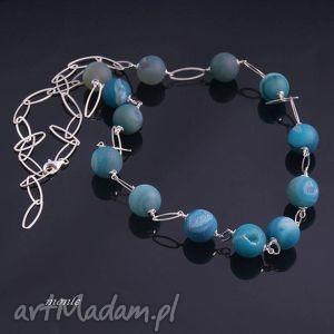 blue naszyjnik z agatów - długi, srebro