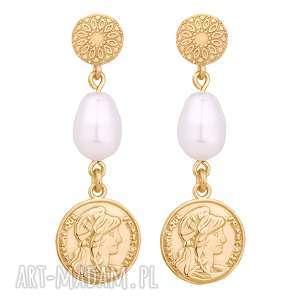 złote długie kolczyki z monetami i perłami swarovski®