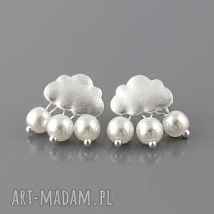 kolczyki kropla deszczu - perełki białe, wkrętki, chmurki, krople