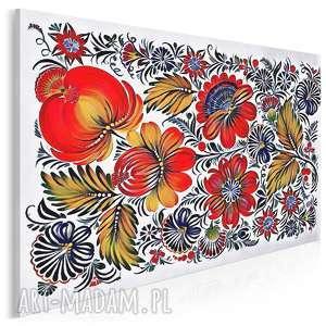 obrazy obraz na płótnie - kwiaty folklor - 120x80 cm (78301)