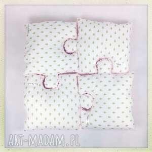 poduszka puzzel biała z kropelki zlote, poduszka, minky, puzzel