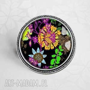 broszka :: KWIATY RETRO, unikalna, unikatowa, szkło, kwiaty, stylowa, piękna