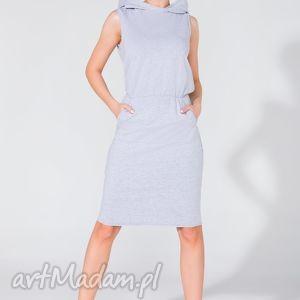 sukienka dresowa z kapturem t133 jasnoszary - sukienka, dresowa, kaptur, kieszeń