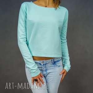 Krótka bluza dresowa miętowa Mint Shorty, wygodna, casual,
