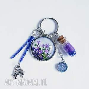 breloczek - kwiaty, druzy, piórko, breloczek, do kluczy, ptaszek, piórko