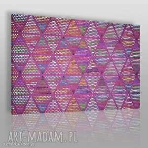 obrazy obraz na płótnie - trójkąty kropki fiolet 120x80 cm 52901