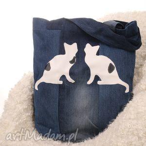 ekologiczna torba dżinsowa z kotami, torba, denim, jeans, dżins, kot, koty