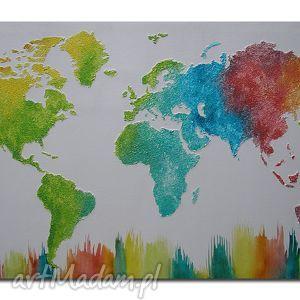 obraz mapa świata kolorowa 3d - 15 -126x70cm ręcznie malowana, obraz, mapa