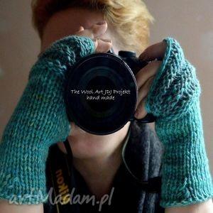 rękawiczki mitenki - rękawiczki, mitenki, wełna, turkusowe