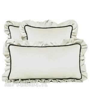 poduszki dekoracyjne komplet 3 welur ecru od majunto